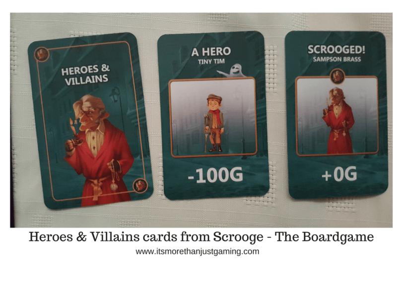 Heroes & Villains cards from Scrooge - The Boardgame