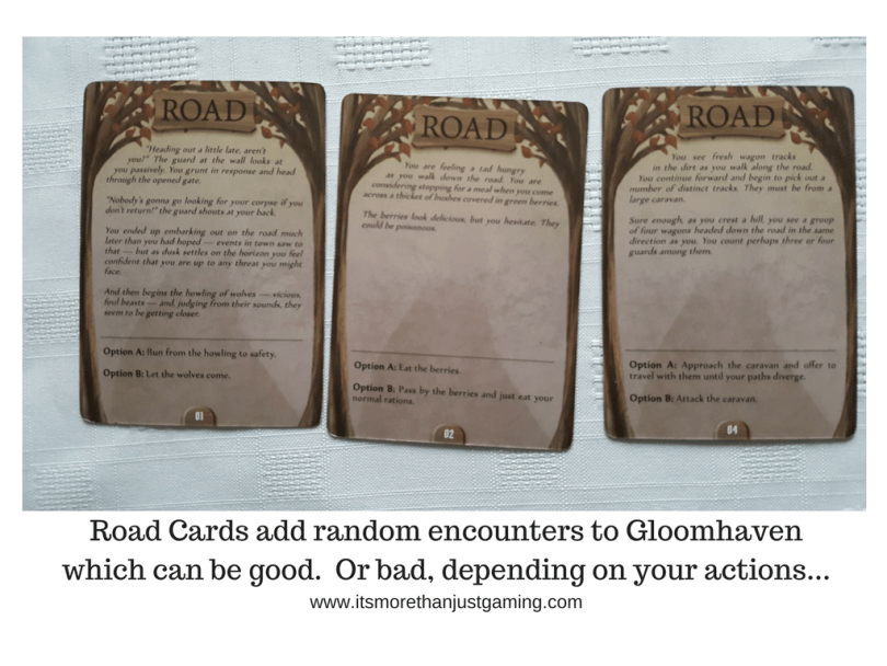 Road Cards add random encounters to Gloomhavenwhich can be good. Or bad, depending on your actions...