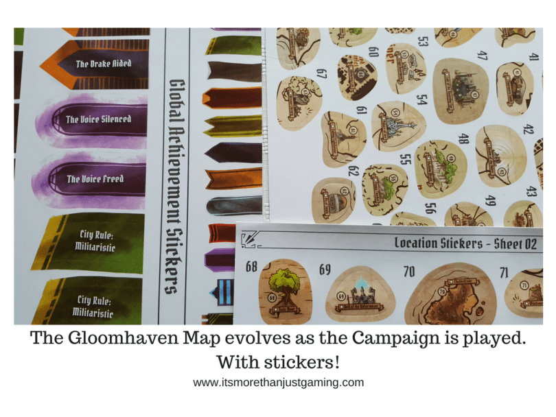 The Gloomhaven Map evolves as the Campaign is played.With stickers!