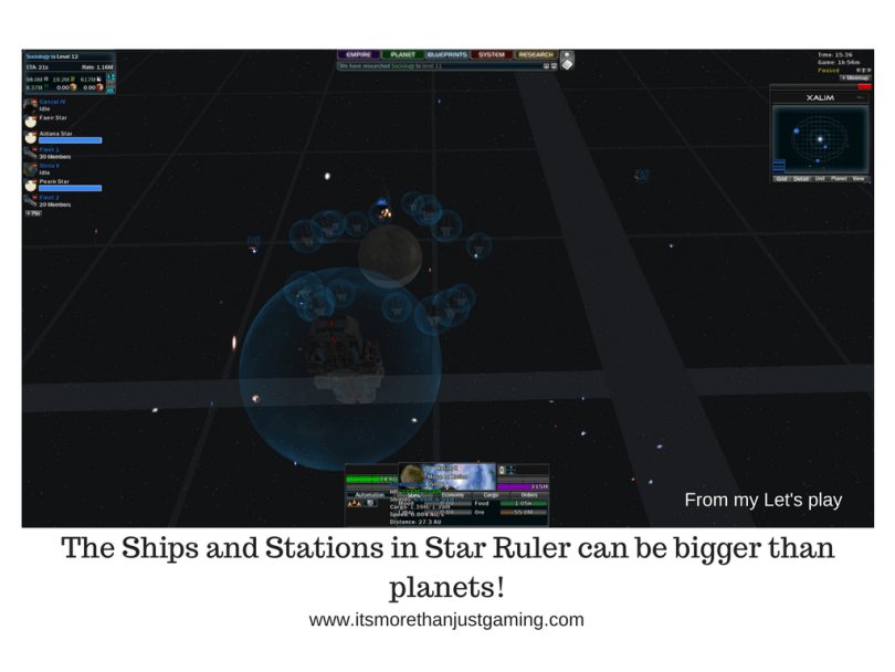 The Ships and Stations in Star Ruler can be bigger than planets!