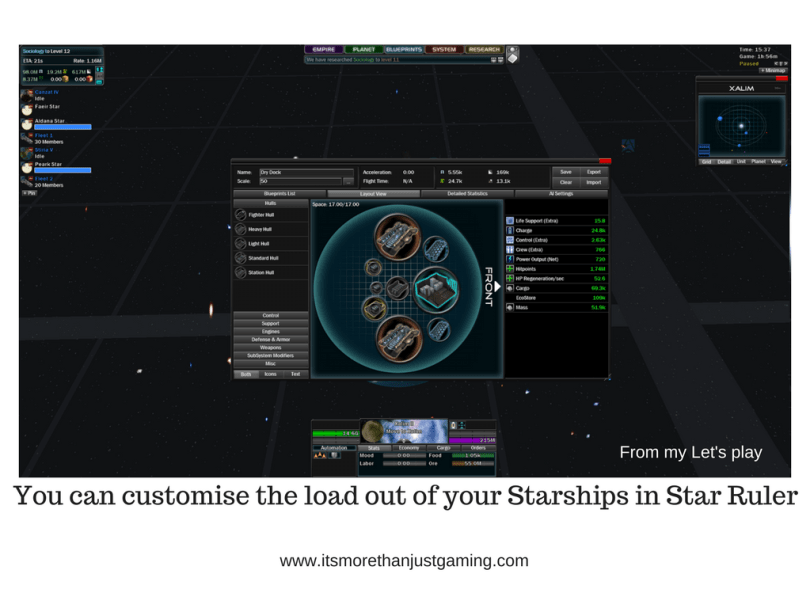 You can customise the load out of your Starships in Star Ruler