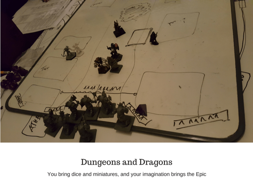 Dungeons and Dragons some miniatures on a whiteboard used for combat