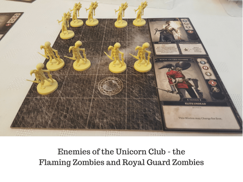 Enemies of the Unicorn Club - the flaming and royal guard zombies