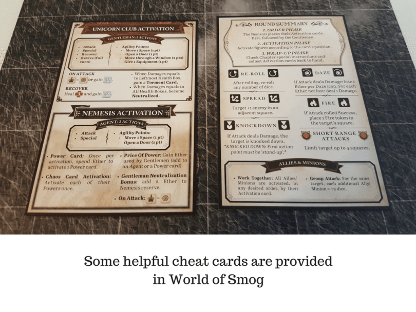 Some helpful cheat cards are provided in World of Smog