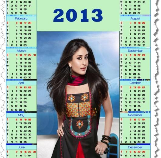 calendar2013- sexy Bollywood Actress female Kareena Kapoor wallpaper