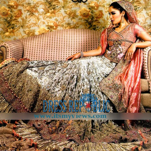 latest Pakistani indian fashion designer bridal lehenga 2013