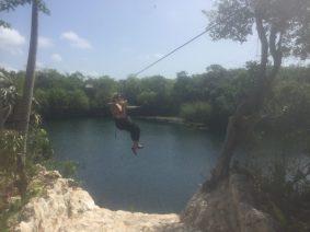 Ziplining across a cenote