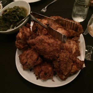 The chicken I still dream about with greens in the background!