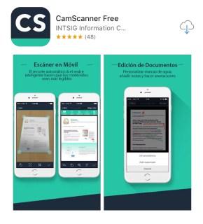 Un escáner en tu celular con la App Camscanner