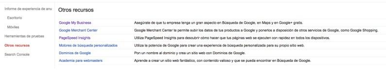 Otros recursos Google Search Console