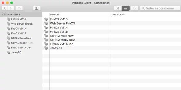 Conexiones RDP disponibles en MacOS