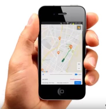Vista en Aplicación móvil del rastreo satelital de vehículos