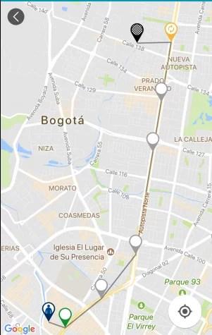 Ruta sugerida en mapa