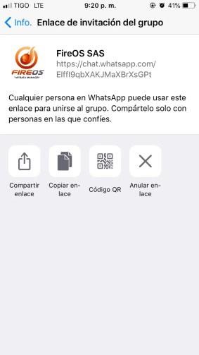 Link del invitación al grupo Whatsapp