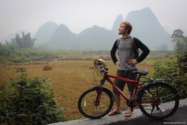 Bicycle Around Yangshuo. Moon Hill