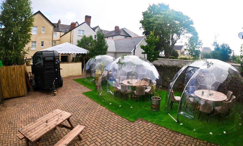 Bubble pod dining has arrived in Cardiff.