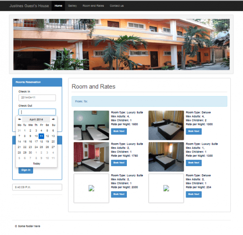Online Hotel Management System Project in PHP