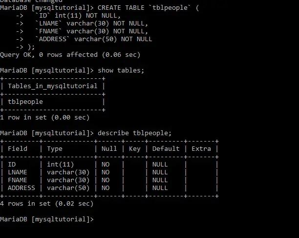 mysql create table query