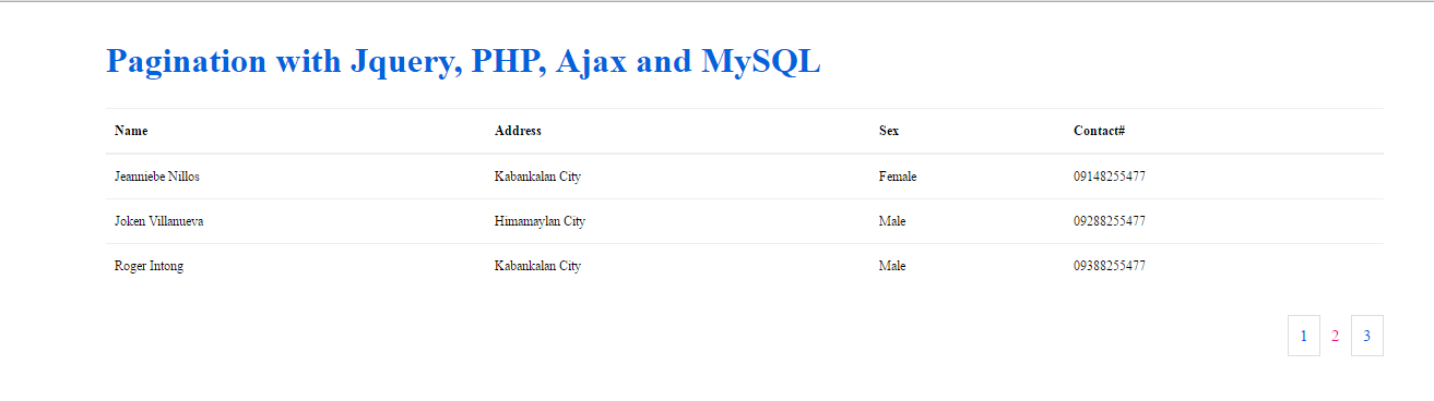 Pagination Using Ajax, jQuery, PHP and MySQL Database