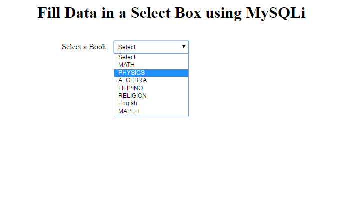Populating Drop Down List with PHP