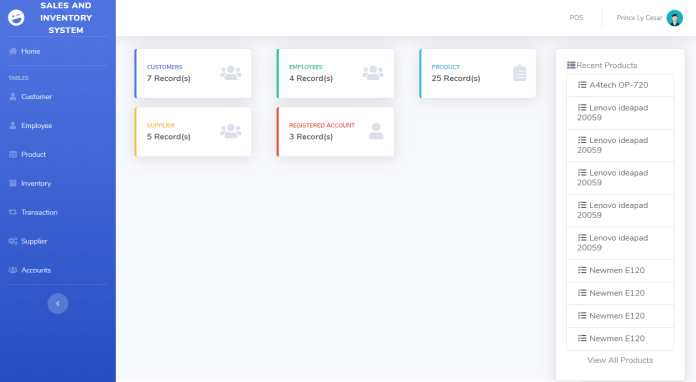 Sales and Inventory System in PHP Admin dashboard