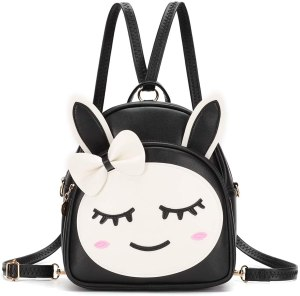 A black and white mini backpack with cute face design. A cute purse for teenage girl.