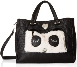 Black tote bag with a front pocket that has a cute pair of eyes on it. Overall an eye catching purse for teens.