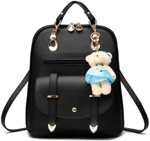 an adorable black water proof backpack containing two front pockets.