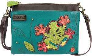 Frog Patterned fabric lining on a Chala crossbody