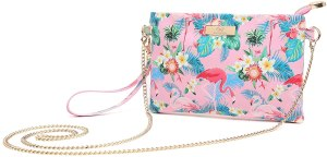 a flower patterned clutch cum crossbody with removable chain strap. a fine cute handbag for teenage girl.