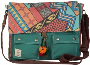a vintage bag with multi-color pattern printed on it.