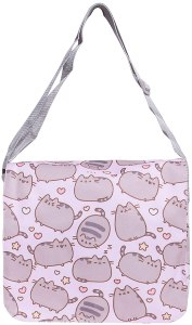 this little light colored kids messenger bag that has a cool print of cats. Its perfect for small kids.