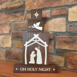 Oh Holy Night wood block decor