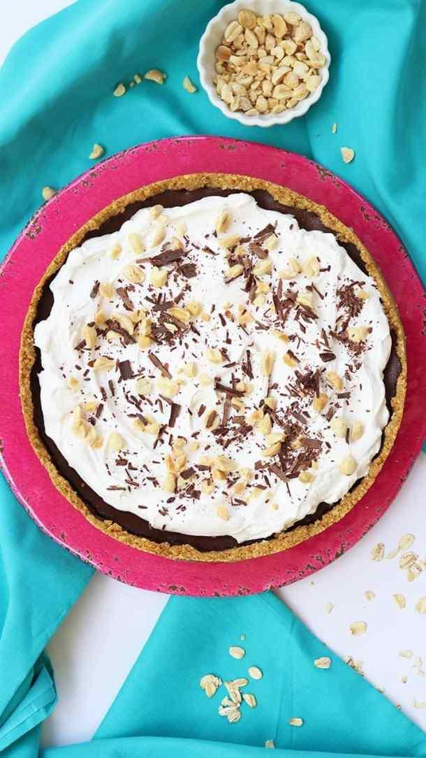 Peanut Crusted Chocolate Fudge Pie
