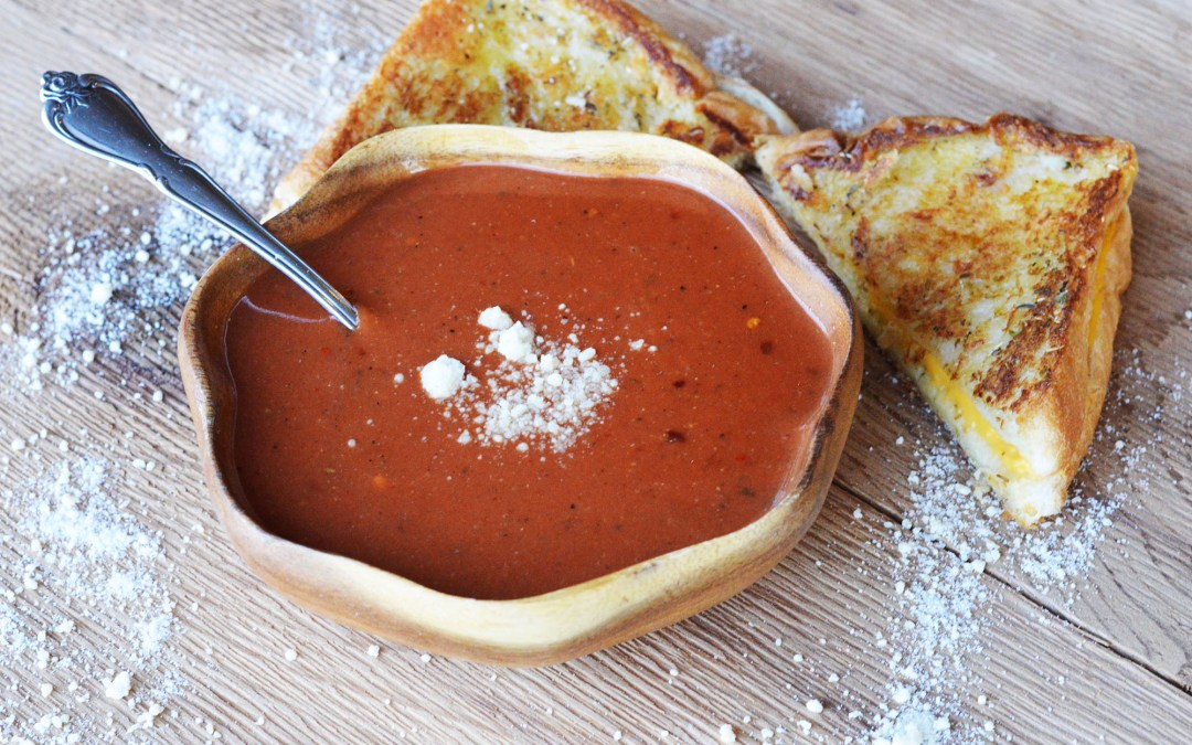 """Souped Up"" Spicy Tomato Soup and Grilled Cheese"