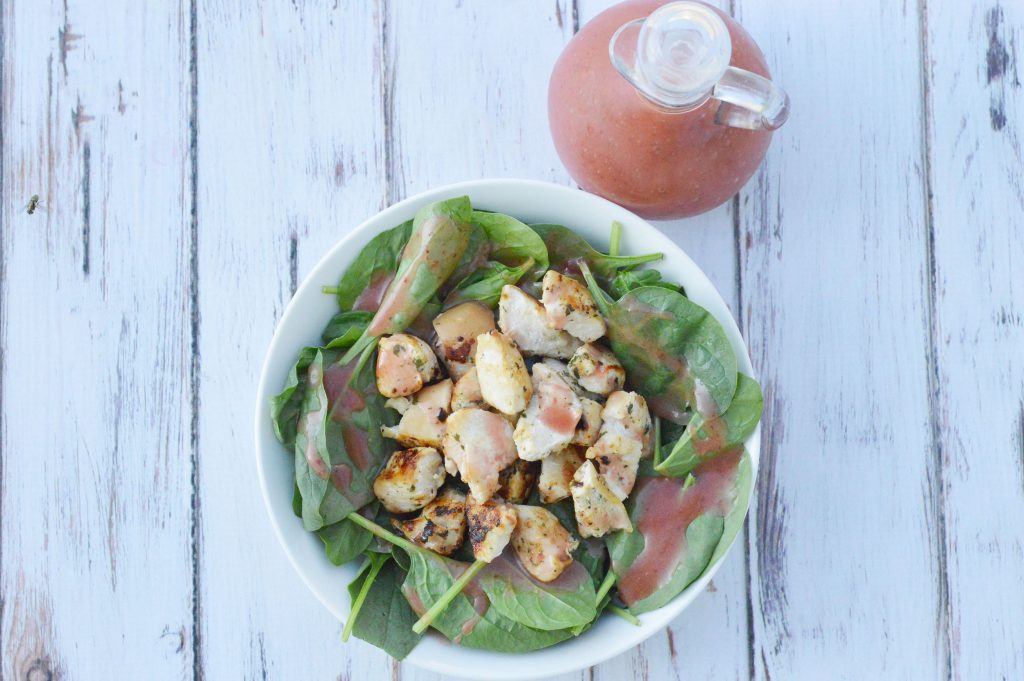 Grilled Chicken and Spinach Salad with Strawberry Vinaigrette