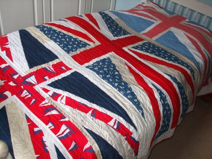Union Jack Quilt on the bed