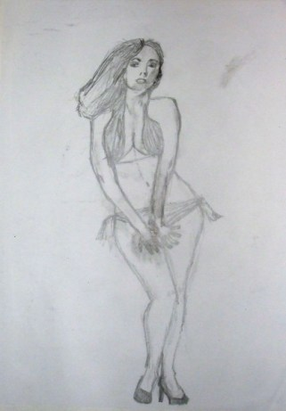 pencil bikini sketch
