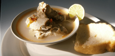 Chicken Souse with Johnny Cake