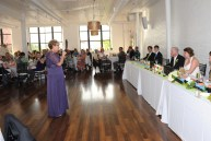 My mom giving a speech. Beautiful hard wood floors.