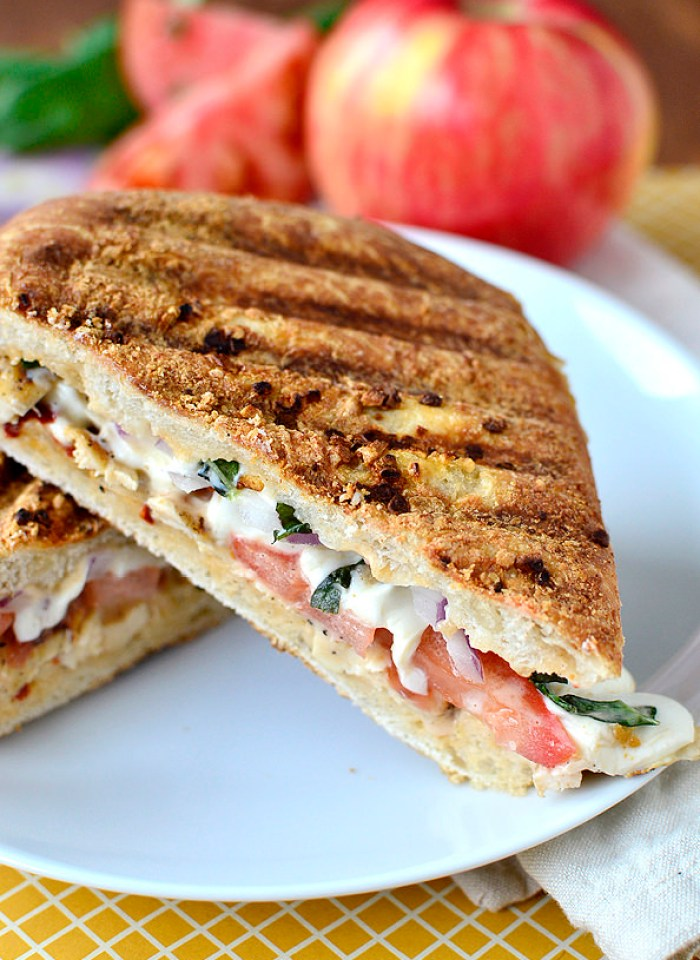 Copycat Panera Frontega Chicken Panini is so simple to make at home. Fresh, smokey, cheesy, and crunchy, it's full of mouthwatering flavor!