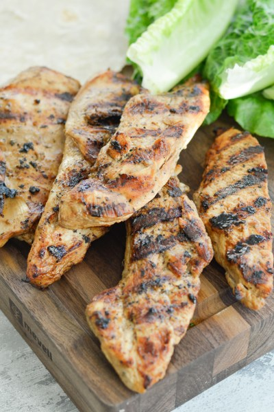 This quick and easy Grilled Caesar Chicken recipe is perfect for salads, wraps, and easy healthy meal prep!