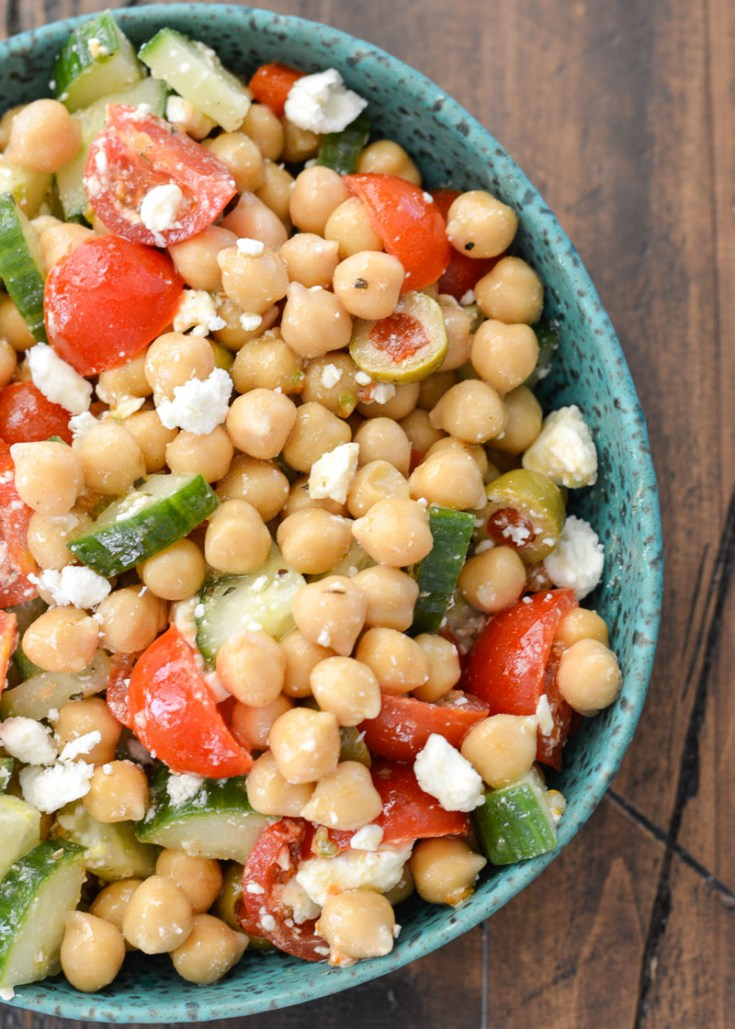 This Easy Chickpea Cucumber Salad features fresh vegetables and a tangy lemon vinaigrette. You will love this healthy salad for simple weekly meal prep!