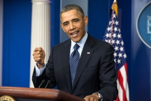 President Obama speaks during his press conference.