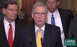 Senate Majority Leader Mitch McConnell speaks to reporters.