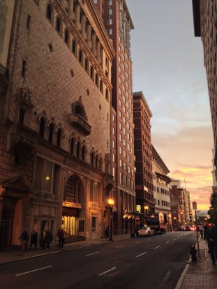 Sunset on the streets of Boston
