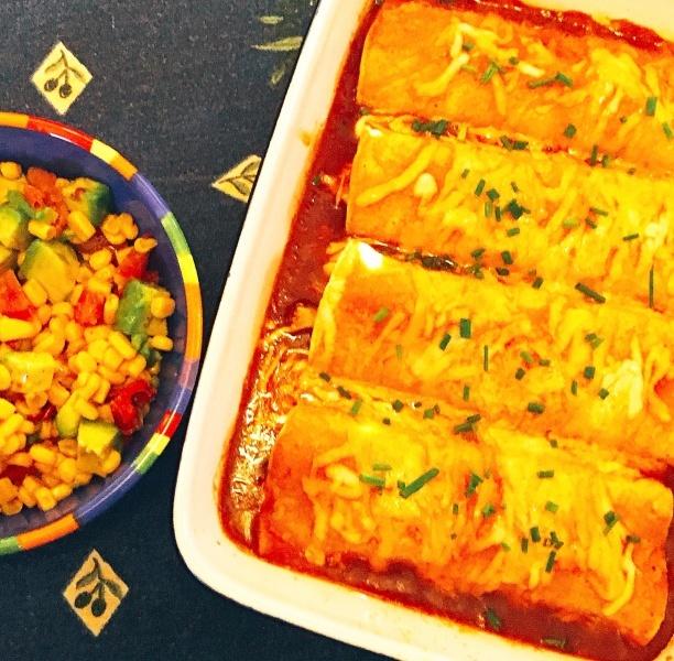 Chicken Enchiladas with Avocado-Corn Salad