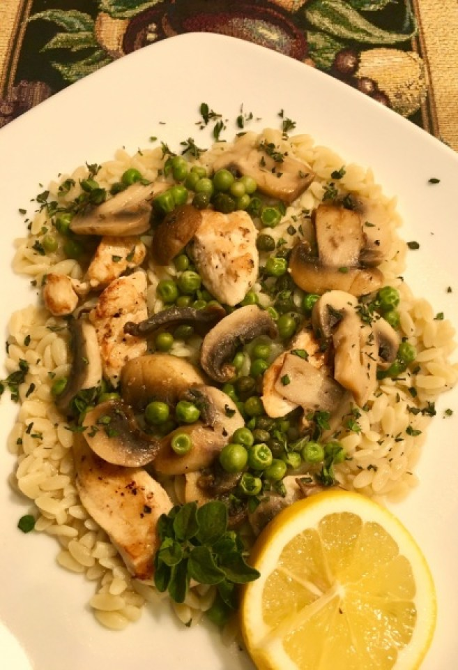 Chicken Piccata with Mushrooms and Peas