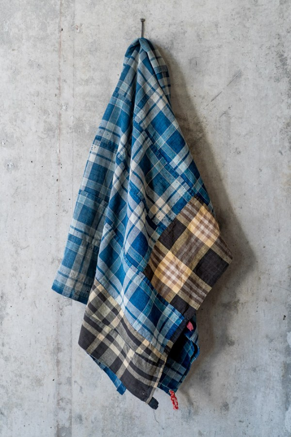 Vintage Boro Fabric_Indigo Large Check_top