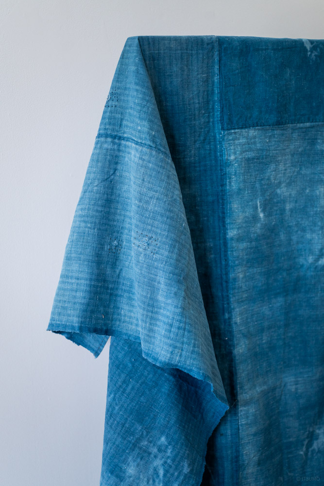 Vintage Boro Furoshiki Fabric_Light Indigo Tie Dye